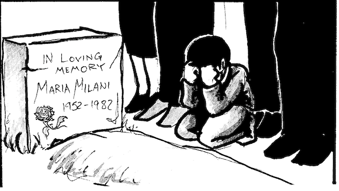 A YOUNG BOY GRIEVES THE LOSS OF HIS MOTHER.