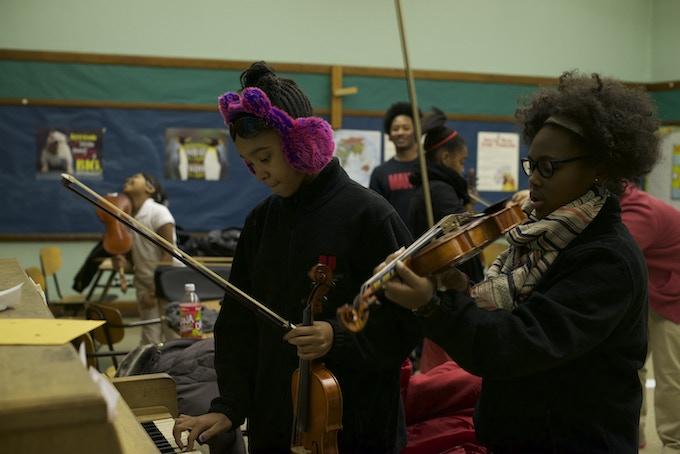 Violin students in the Cass Corridor neighborhood