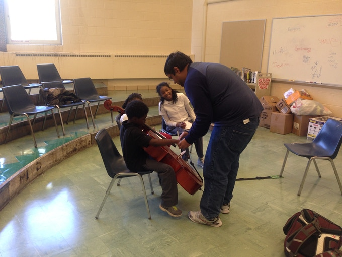Students learning cello in Brightmoor
