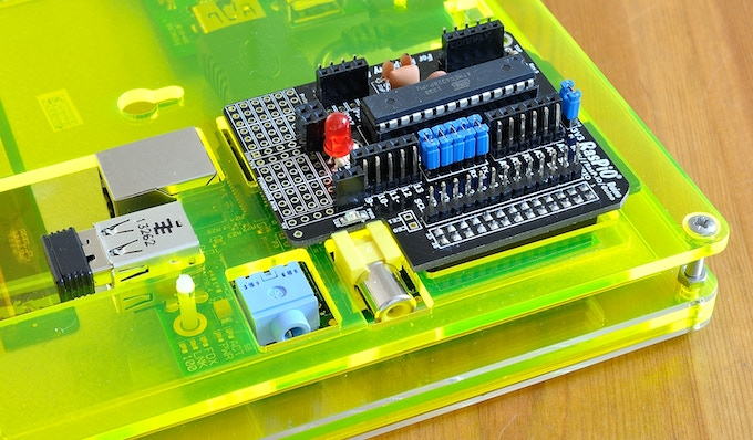 RasPiO Duino on the back of an HDMIPi (early versions of both)