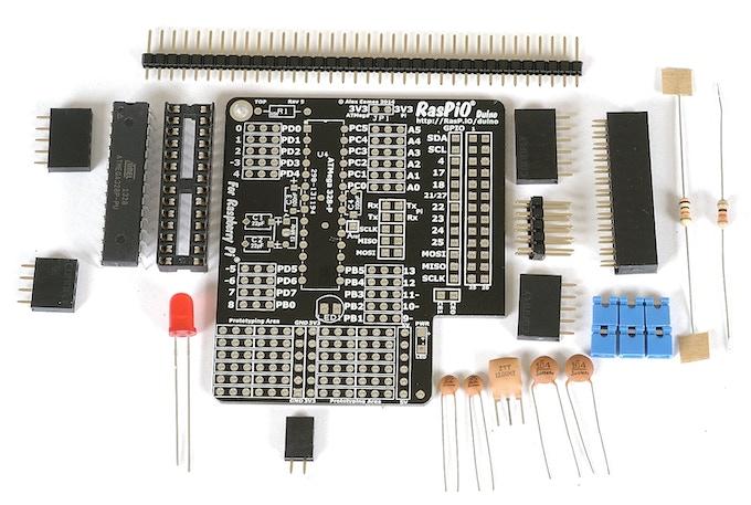 RasPiO Duino kit contents (earlier rev of PCB)