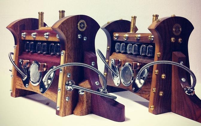 Custom Wood Choice First Campaign Clocks, Shown In Purpleheart Sapwood (L) and Figured Walnut Sapwood (R)