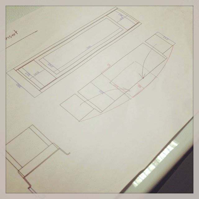 Architectural plans of the boat, designed by Maritime Architect and British Yachtsman Phil Morrison.