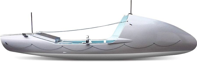 Computer design of what the boat will look like when finished, before sponsorship vinyls are added.