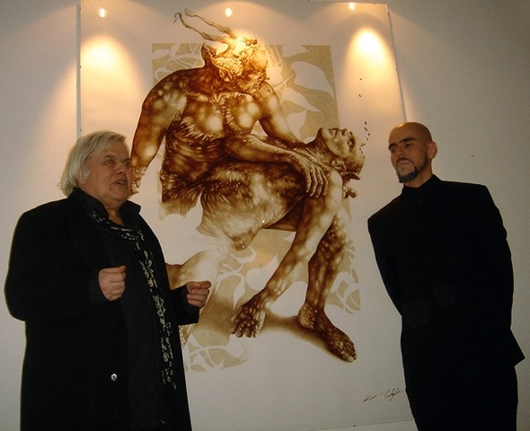 """Giger & Castiglia at his solo exhibition, """"Remedy for The Living"""", 2008, H.R. Giger Museum Gallery, Switzerland - Photo © Alf Battig"""