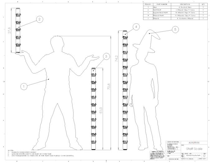 Half-Staff, Apprentice Staff, Wizard Staff Sizing Chart