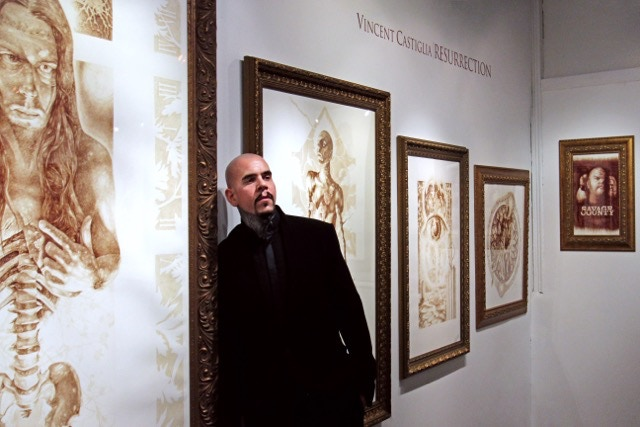 """Castiglia with """"Stings of The Lash"""", Sacred Gallery - """"Resurrection: A Retrospective"""" NYC, 2012 - Photo © Ruth Arnold"""
