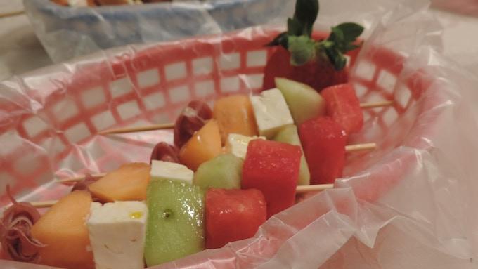 Feta Melon Kebabs with Prosciutto