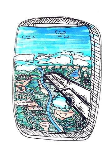 "Airplane Window by Laura Palmer, 8 x 10"""