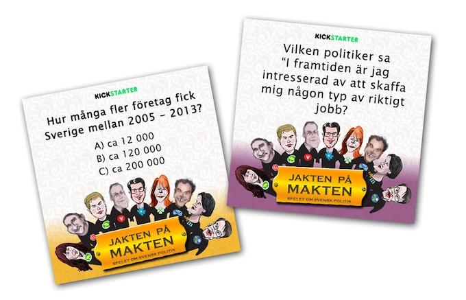 Exempel på frågekort från spelet. Example of question cards from the game.