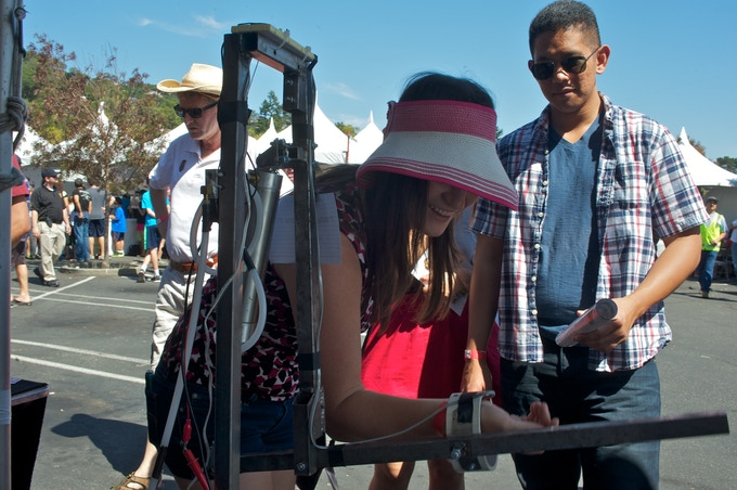 A demonstration of our first prototype arm at the Marin Mini-Maker Faire.