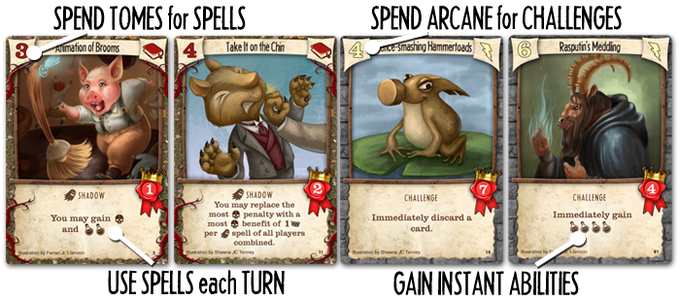 Each turn, there are 4 cards to buy. Spells can be chained to get more cards and play off opponents. Challenges give an instant bonus and end game victory points. Every game offers new combinations!