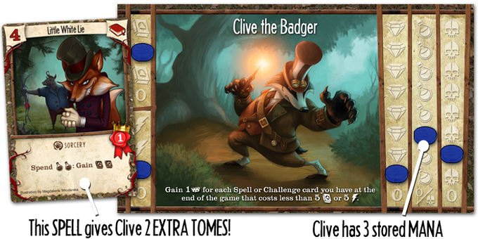 Clive has acquired the Little White Lie spell that creates 2 tomes - and he has the mana to use it!