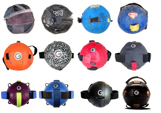 This Gravity Ball photo timeline shows the evolution of the handmade prototype into the 1st edition manufactured Gravity Ball.