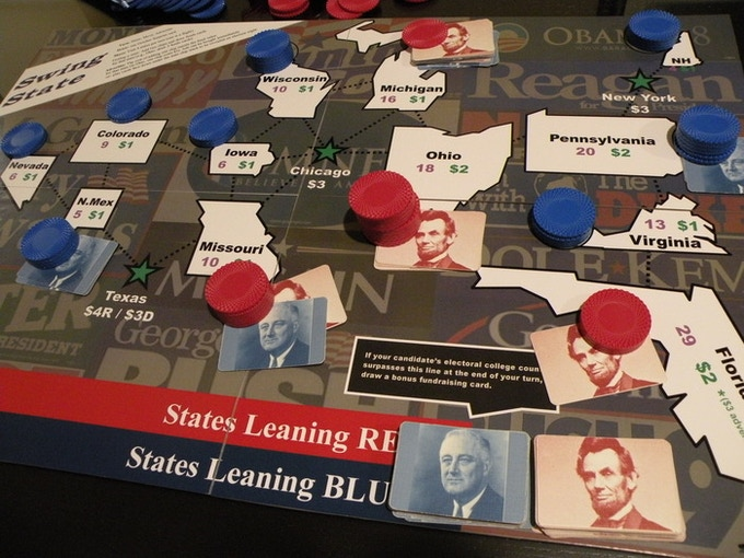 The lead has changed to Blue in CO and NV and even in VA, but Red is now ahead in MI and OH after three turns.