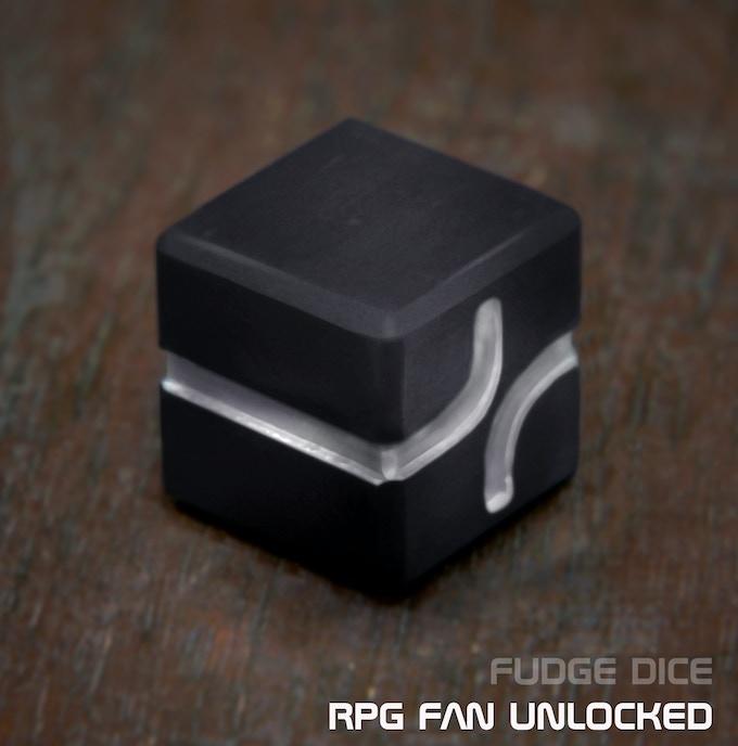 AKO DICE - UNLOCKED RPG Fan, Grey anodized aluminum Fudge Dice.