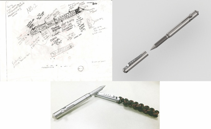 Top Left: Idea, Top Right: 3D CAD, Bottom: Prototype