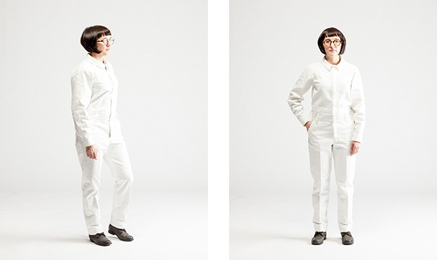 JUMPSUIT in white with a long sleeve