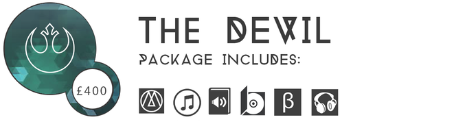 ▲ THE DEVIL £400: In addition to everything at the JUDGEMENT tier, you'll get a pair of Turtle Beach Ear Force i60 headphones.