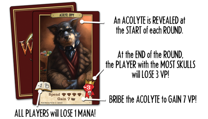 Each round, a different Acolyte of a Lost Master issues a decree. This acolyte penalizes 1 mana for all wizards, accepts a 4 gem bribe, and penalizes the wizard with the most skull magic 3 victory points.