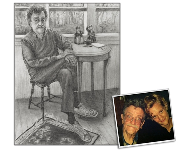 For $450: Limited-edition, signed, numbered, Photopolymer Intaglio print rendering of Vonnegut by his daughter, renowned artist Nanette Vonnegut. See Reward description for more details. (Limited to 20. Hurry!)