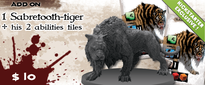 A feral beast from deep within the wild corners of the world, The Sabertooth-Tiger is a new monster minion that comes with his own scenario as well as guidelines for integrating him into others.