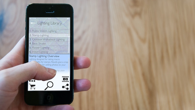 Concept of a users lighting library on the Adaptalux app.