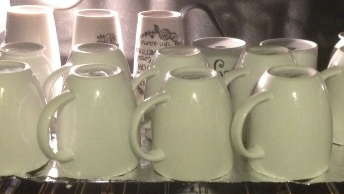 mugs and glasses are all heat cured for durability