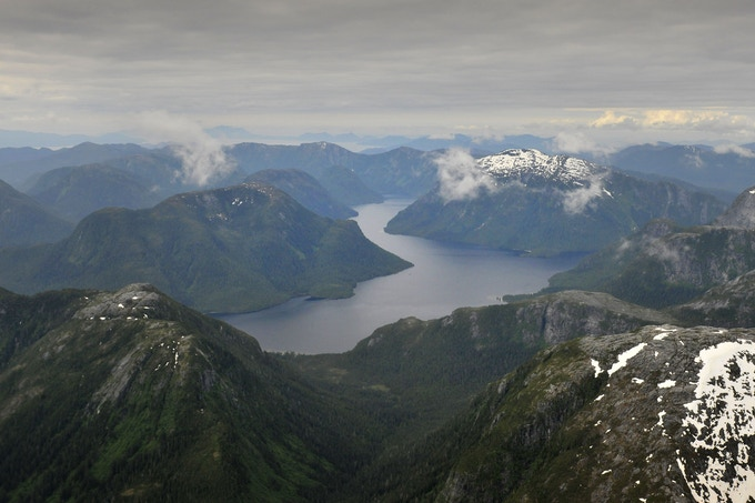Postcard of aerial view of Great Bear Rainforest with photo by Andrew S. Wright