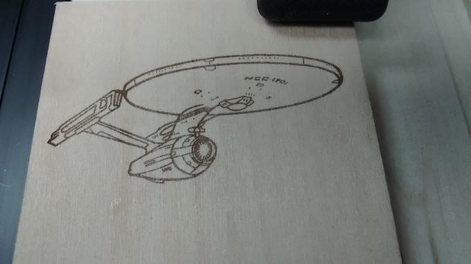 Piranha Fx laser Engraving on wood.