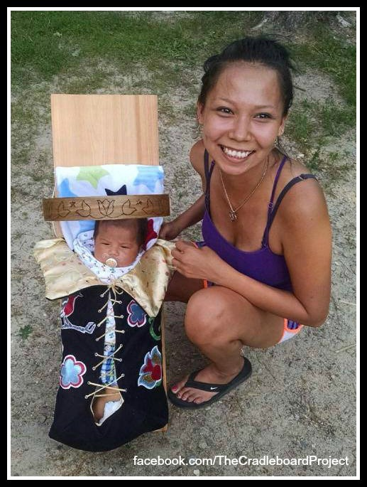 This cradleboard was made with a lot of love by one of our students in the Leech Lake Tribal College Cradleboard Class. She made it and gifted it to her nephew. This is what it is all about, family coming together for the new baby.