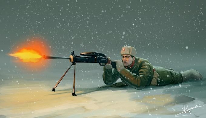 Soviet light machine gunner operating the Degtyaryov DP-28