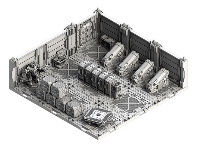 Same base connectors, but this time highly detailed resin walls and floors are added, along with some fantastic accessories...
