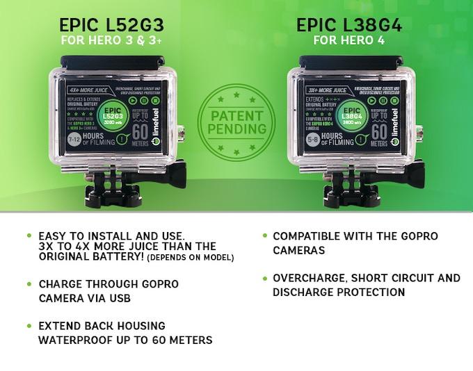 gopro hero 4 3 3 extended battery pack limefuel epic by limefuel kickstarter. Black Bedroom Furniture Sets. Home Design Ideas