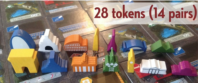 In addition to the standard city tokens, the special edition also includes the Arc de Triomphe, US Capitol, Brandenburg Gate, St. Basil's, Big Ben, the White House, and the Forbidden City. Each token in the final version will be a unique color.