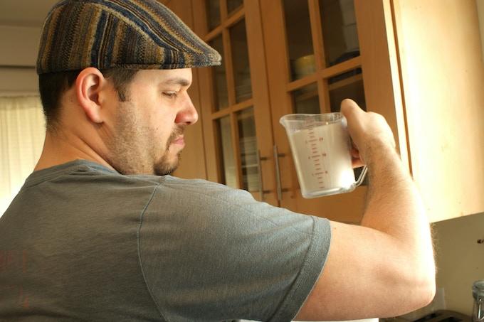 Jared measuring out sugar