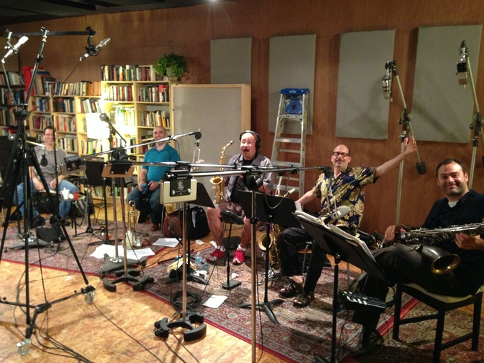 The horn section at Oktaven Audio on recording day.
