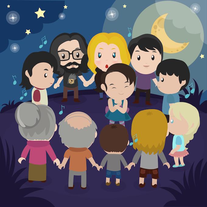 A community gathers around.