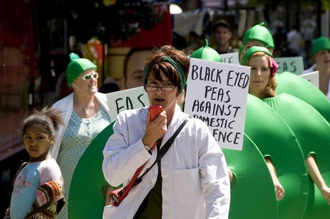 Bobby Baker, 'Peas, Placards, Protest' Bonkersfest, Camberwell Green, London (2008). Photograph: Andrew Whittuck