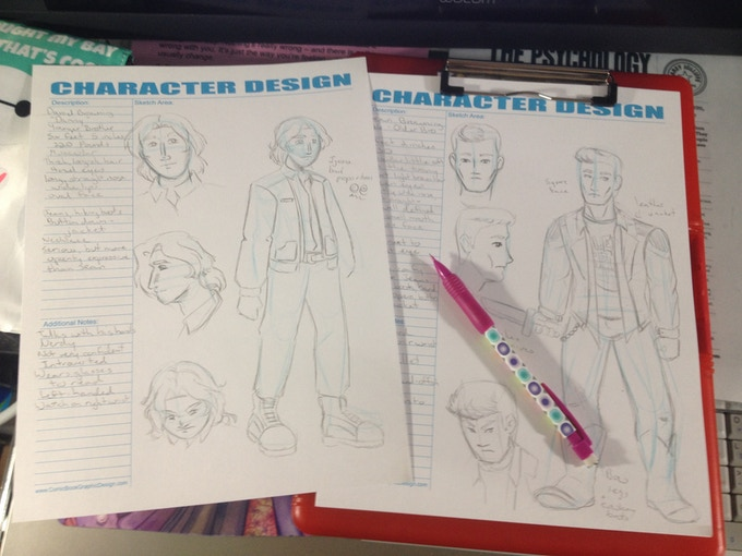Development sketches of Sean and Danny Browning