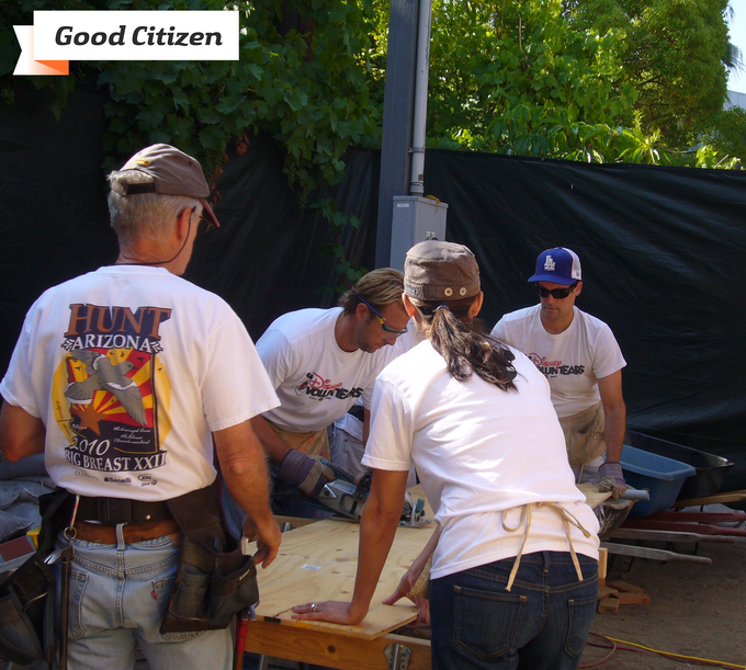 Me (center) volunteering with Habitat for Humanity