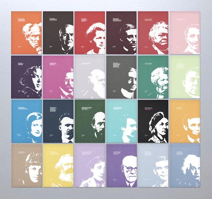 ROW 1: Schopenhauer, Edison, Curie, Emerson, Bethune, Carver. ROW 2: Wilde, Roosevelt, Darwin, Baruch, Douglass, Washington. ROW 3: Rand, Nietzsche, Dostoyevsky, Twain, Nightingale, Lincoln. ROW 4: Earhart, Marx, Woolf, Freud, Turing, Einstein.