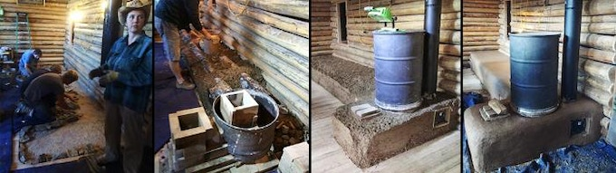 Cob style rocket mass heater built in a log home