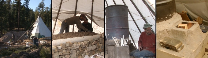 Building a cob style rocket mass heater in a tipi