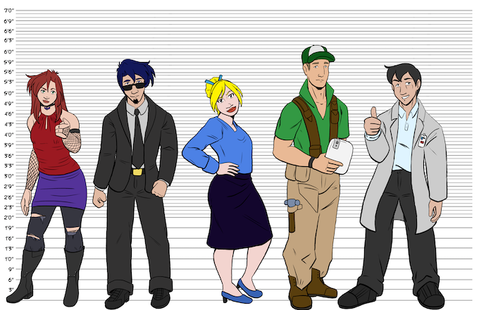 Line-up of some main characters