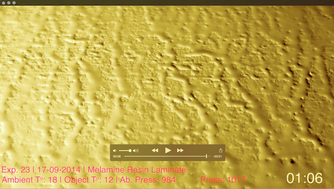 Time-lapse footage of water condensation combined with data gathered by Warkino