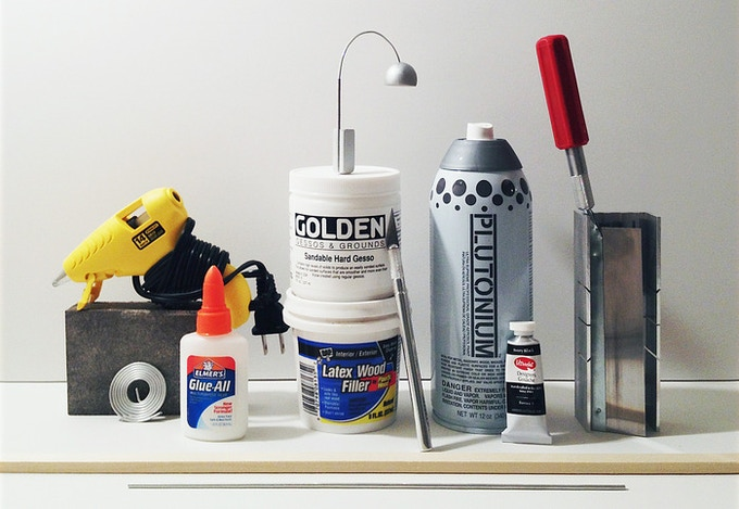 The tools required to make a miniature Arco floor lamp (hand drill not included)