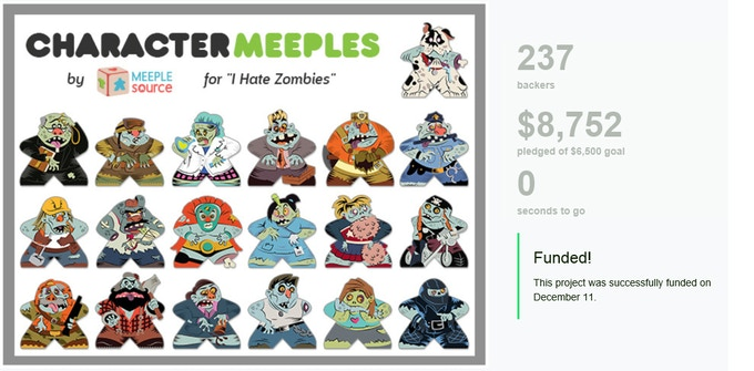 "Our third Kickstarter project, a collaboration with Board Game Geek for their hit microgame ""I Hate Zombies!"""