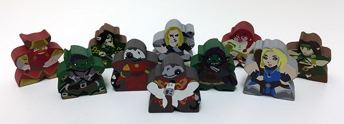 The Tiny Dungeon Adventurer Meeples we made for Smoking Salamander