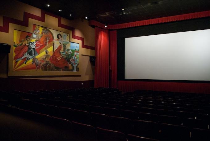 The beautiful screening room at the Frida Cinema